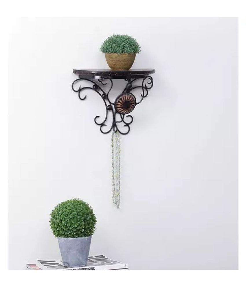 Onlineshoppee Wooden & Wrought Iron Wall Rack Bracket Shelf