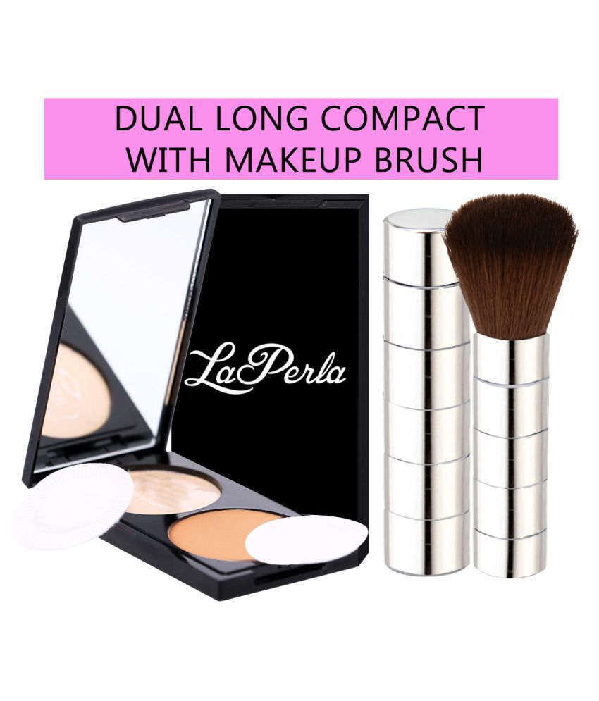 Adbeni Makeup Brush With Dual Compact Pressed Powder Beige 2 no.s Pack of 2