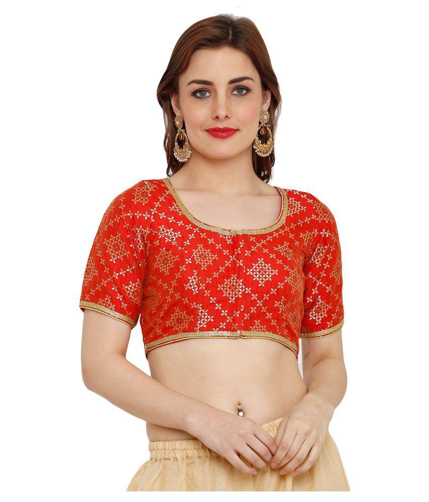 Salwar Studio Red Silk Readymade with Pad Blouse