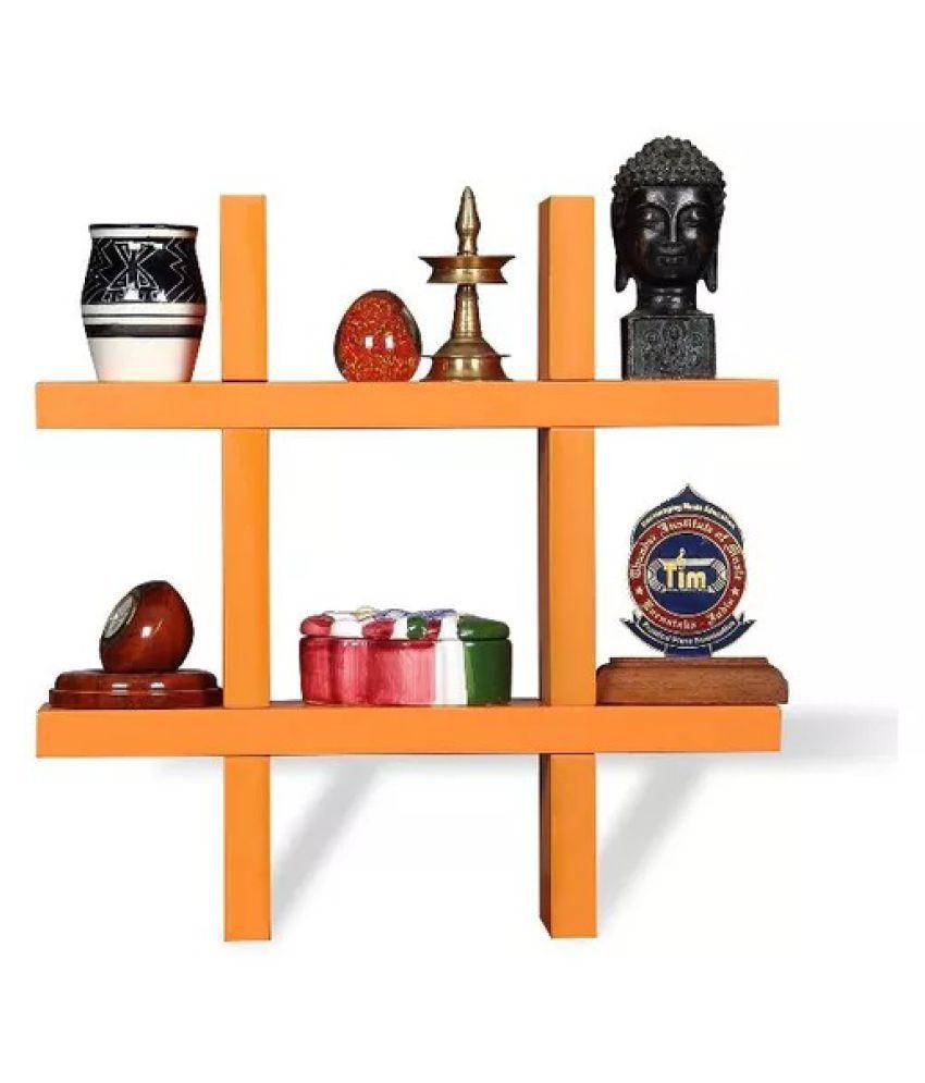 Onlineshoppee Wooden Wall decor Rack Shelf - Orange