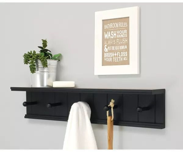 Onlineshoppee Wooden Handicraft Designer Wall Shelf/Bracket With Hangers