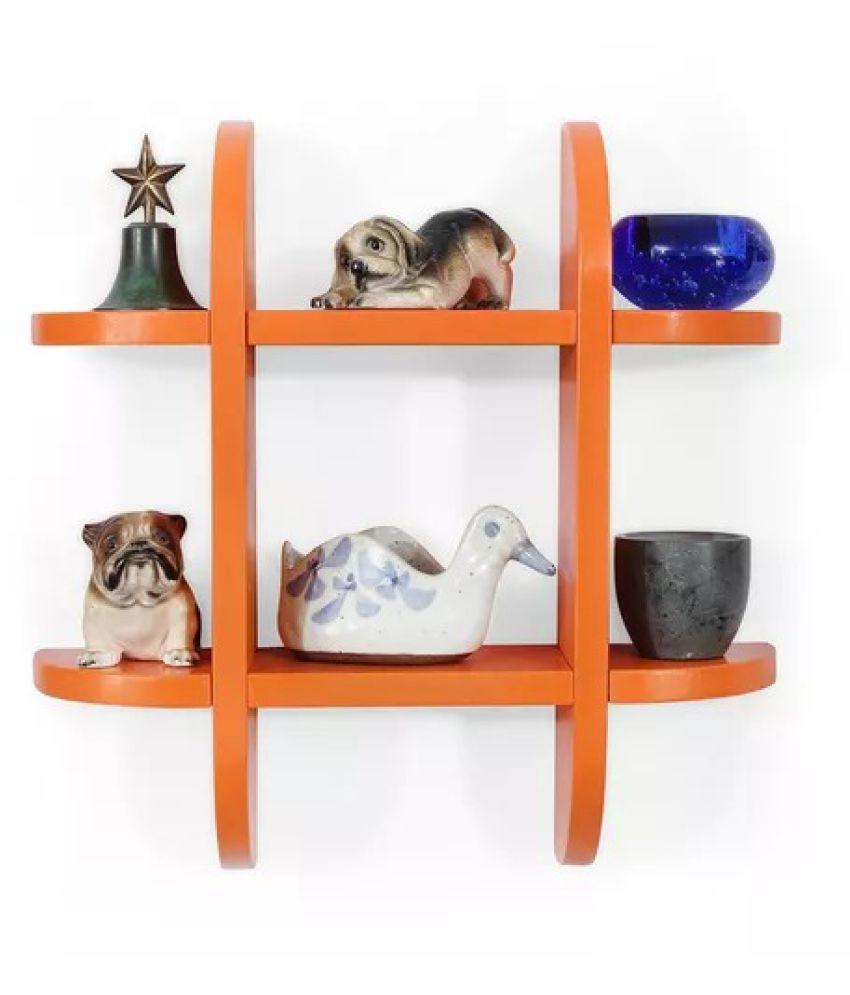 Onlineshoppee Wooden Wall Decor Wall Shelf Rack/Bracket ( Orange )