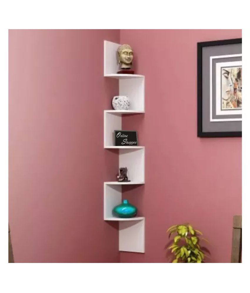 Onlineshoppee Wooden Fancy Zigzag Wall Mount Floating Corner Wall Shelf - White