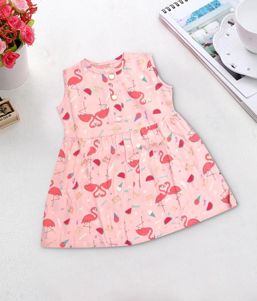 1984d3a892cb20 Kaboos 100% Cotton Pink Colour Allover Printed Frock - Buy Kaboos 100% Cotton  Pink Colour Allover Printed Frock Online at Low Price - Snapdeal