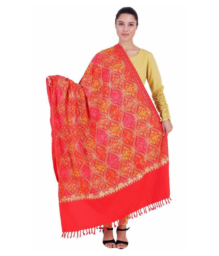 Kashmiri Shawl Red Ari Embroidery Shawl