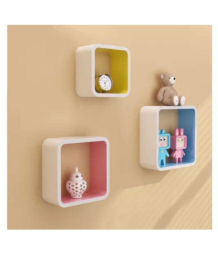 Onlineshoppee MDF Artesania Cube Floating Wall Shelves Set of 3