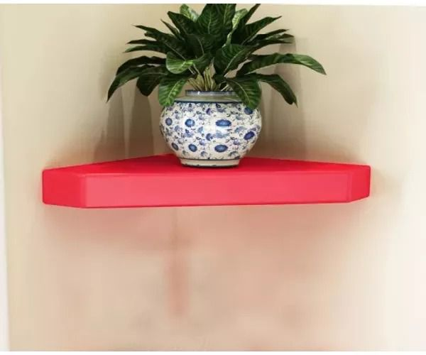 Onlineshoppee MDF Decorative Wall Shelves for Living room empty wall corners - Red