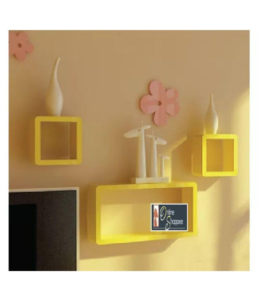 Onlineshoppee MDF Cube Shape Floating Wall Shelves Set of 3