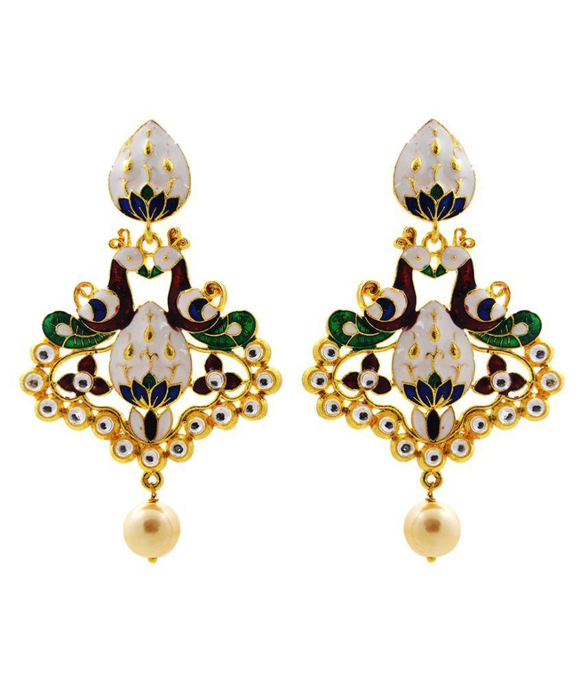 MK Jewellers Fine Dual Peacock Meenakari Danglers Pearl White