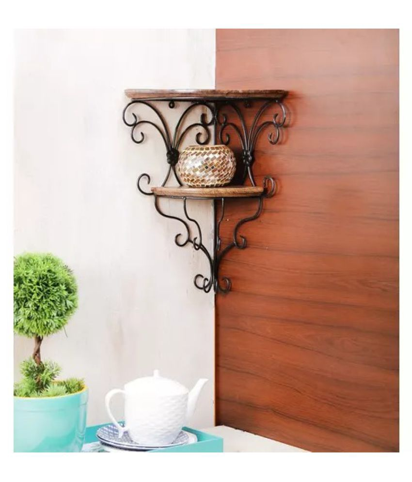 Onlineshoppee Wooden & Wrought Iron Wall Bracket