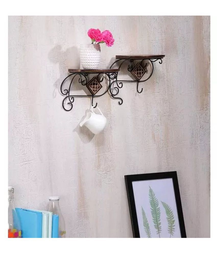 Onlineshoppee wall shelve with wood and iron in 2 step Shape. A perfect Wall shelves cum bracket