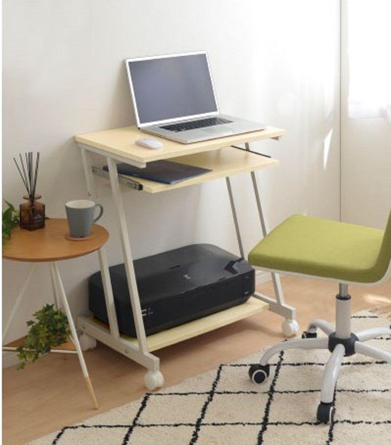 InnoFur Trapezi PC Desk (Beige) with Castor / Computer Table with Castor / Computer Desk with Castor