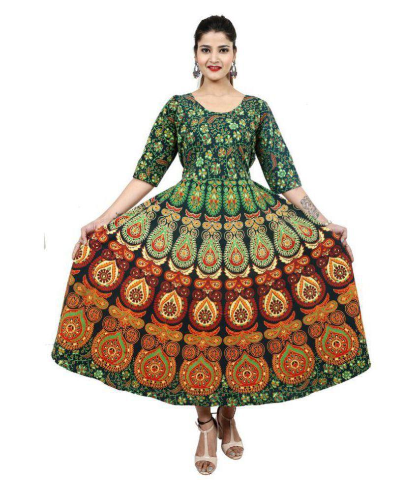 Dhruvi Cotton Green A- line Dress
