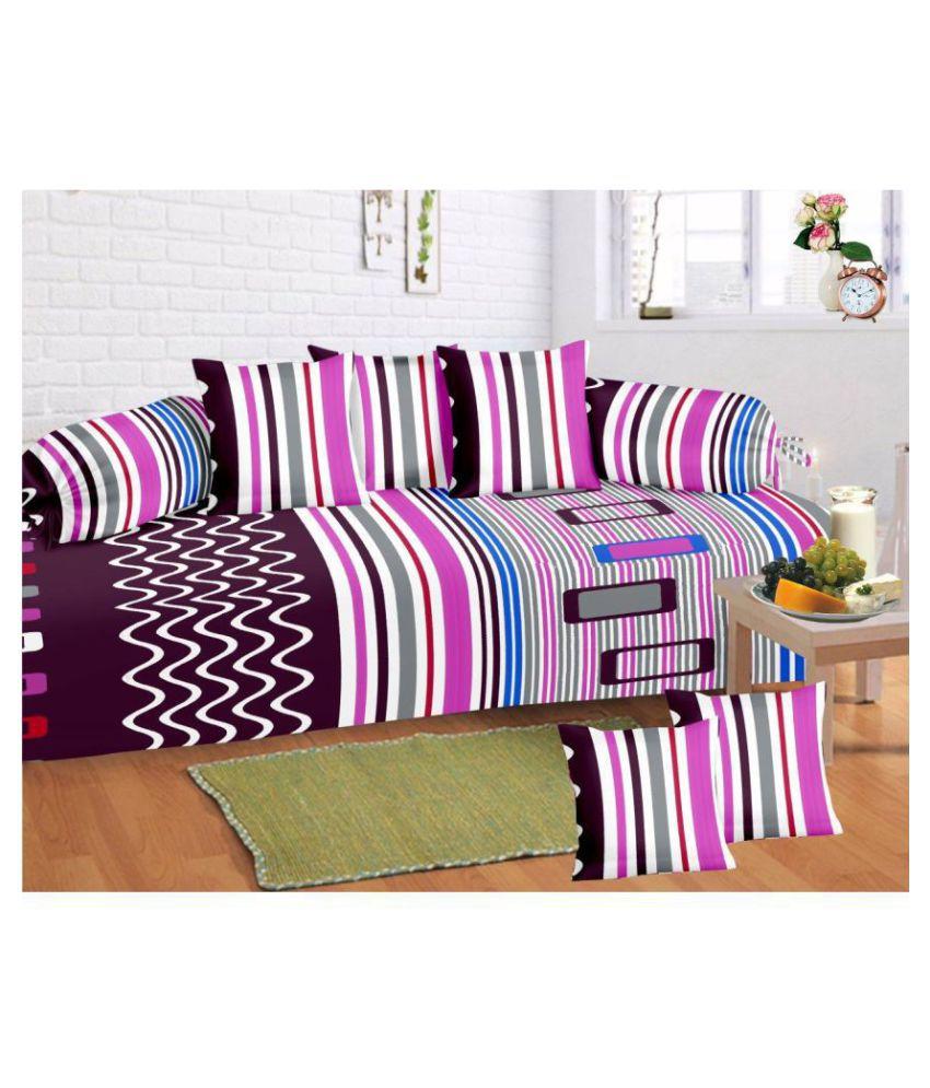 HFI Cotton Purple Stripes Diwan Set 8 Pcs