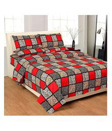 AV DECOR Poly Cotton Double Bedsheet with 2 Pillow Covers