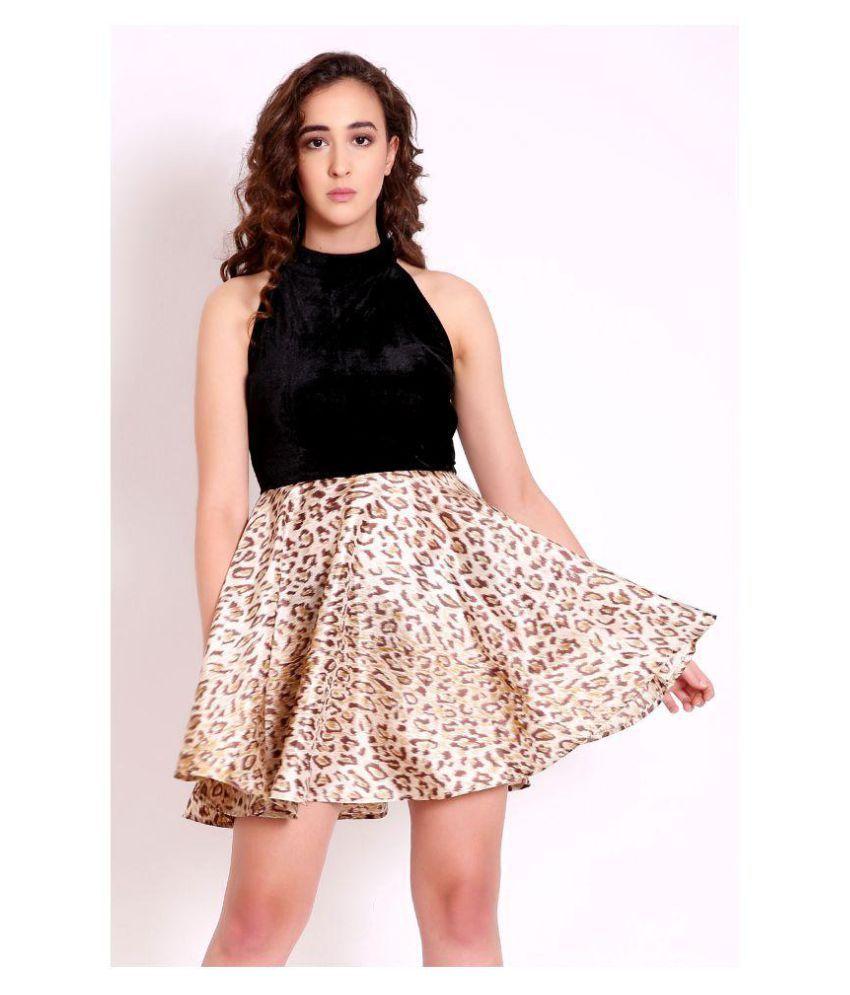 Marzeni Velvet Multi Color Fit And Flare Dress