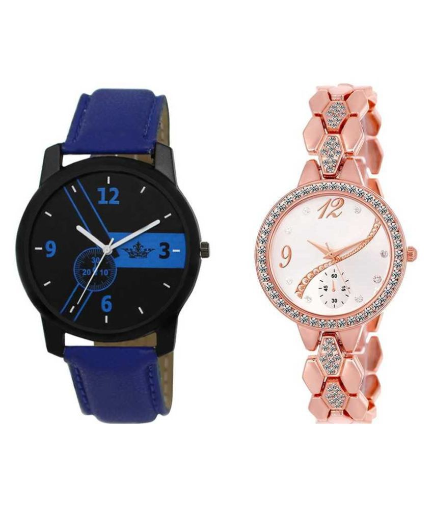 new-branded-collection-rose-gold-blue-metal-synthetic-WATCH COMBO FOR MEN WOMEN