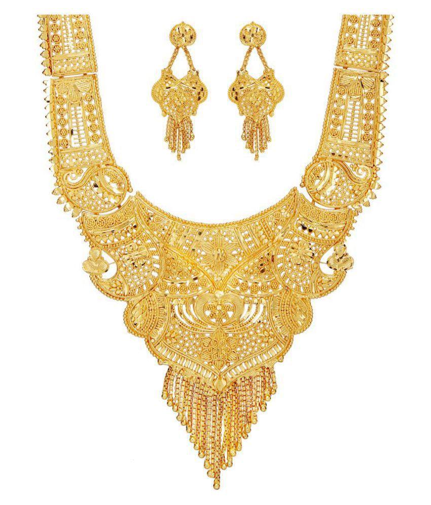 mansiyaorange Alloy Golden Long Haram Traditional Gold Plated Necklaces Set