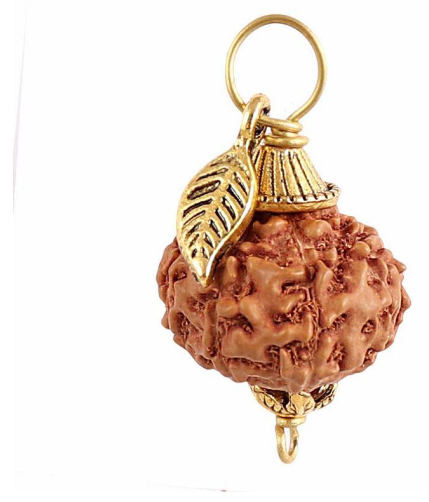 Rudra Blessings 8 Mukhi Indonesian Rudraksha Pendant with Leaf Accessory