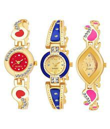 Stainless Steel New Arrival Analog Golden Dial Women's Watch Combo of 3