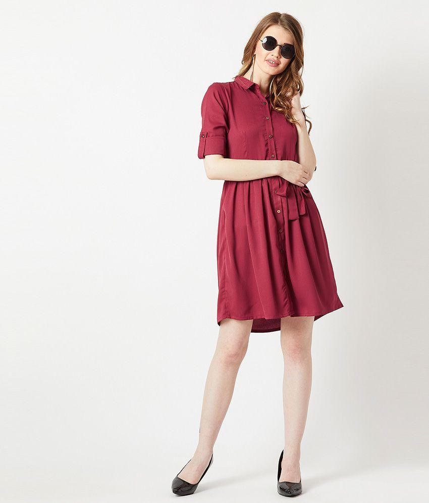 Miss Chase Crepe Maroon Shirt Dress