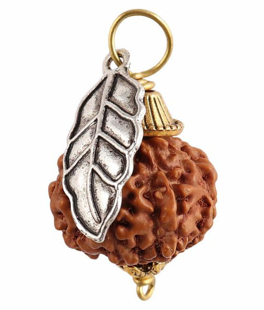 Rudra Blessings 8 Mukhi Indonesian Rudraksha Pendant with Leaf Accessory - 2