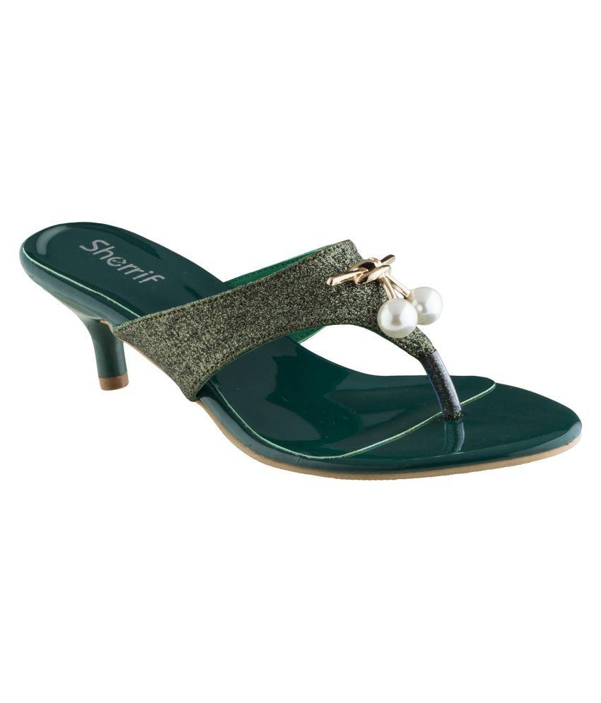 sherrif shoes Green Kitten Heels