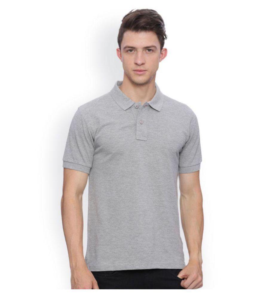 SquareFeet Grey Regular Fit Polo T Shirt