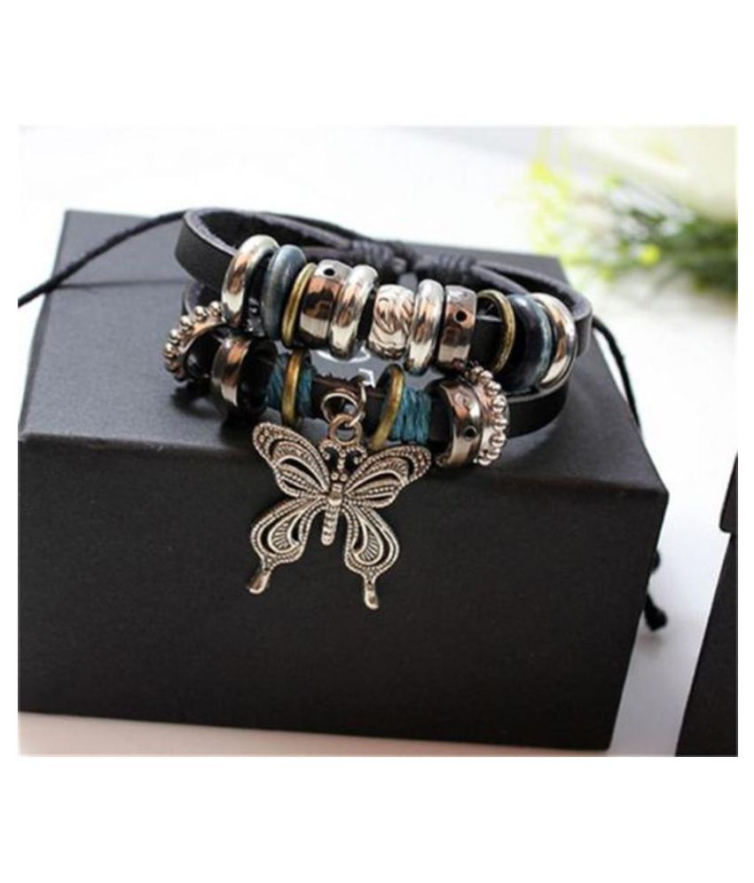 Fashion Jewelry Infinity Leather Charm Bracelet Silver Color Butterfly lots Beads Fashion Jewellery