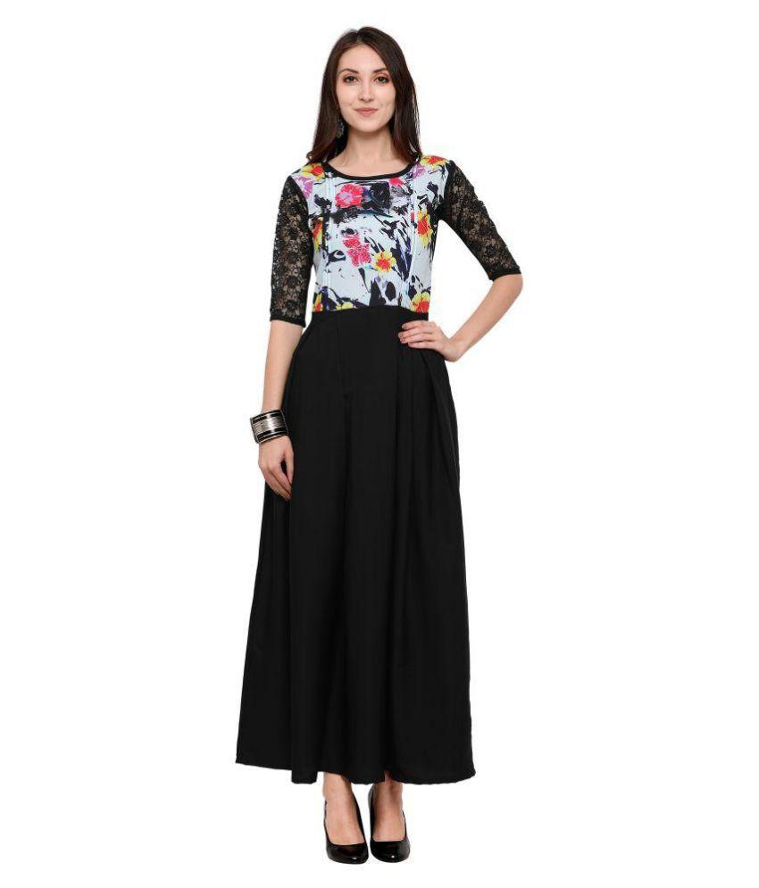 Bhavani Black Crepe A-line Semi-Stitched Suit