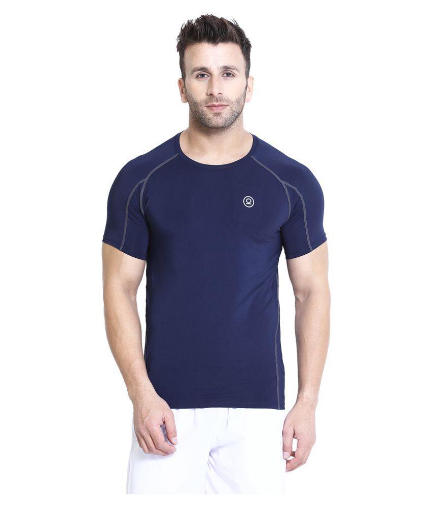 CHKOKKO Polyester Men's Round Neck Regular Fit Dry Fit Stretchable Yoga Gym Sports Tshirts Navy Blue XXL