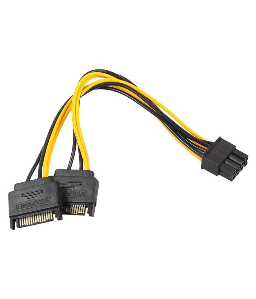 Dual 15Pin SATA to PCI-E 8Pin Cable PC Computer Graphics Card Power Cord