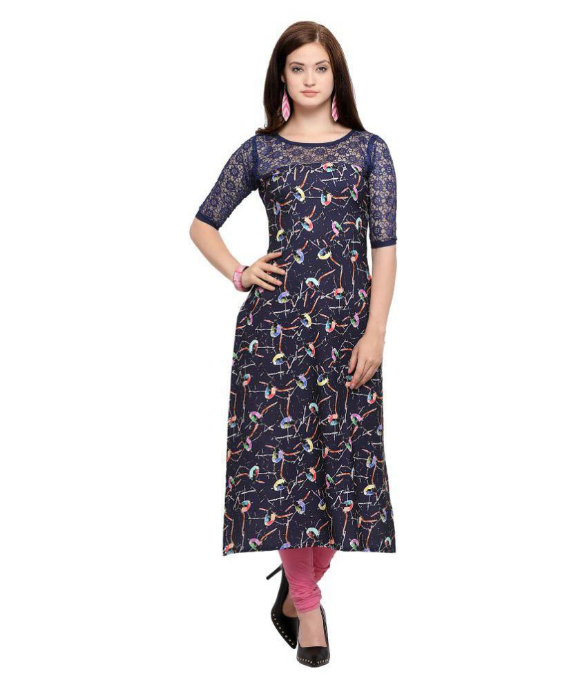 Bhavani Blue Crepe A-line Semi-Stitched Suit