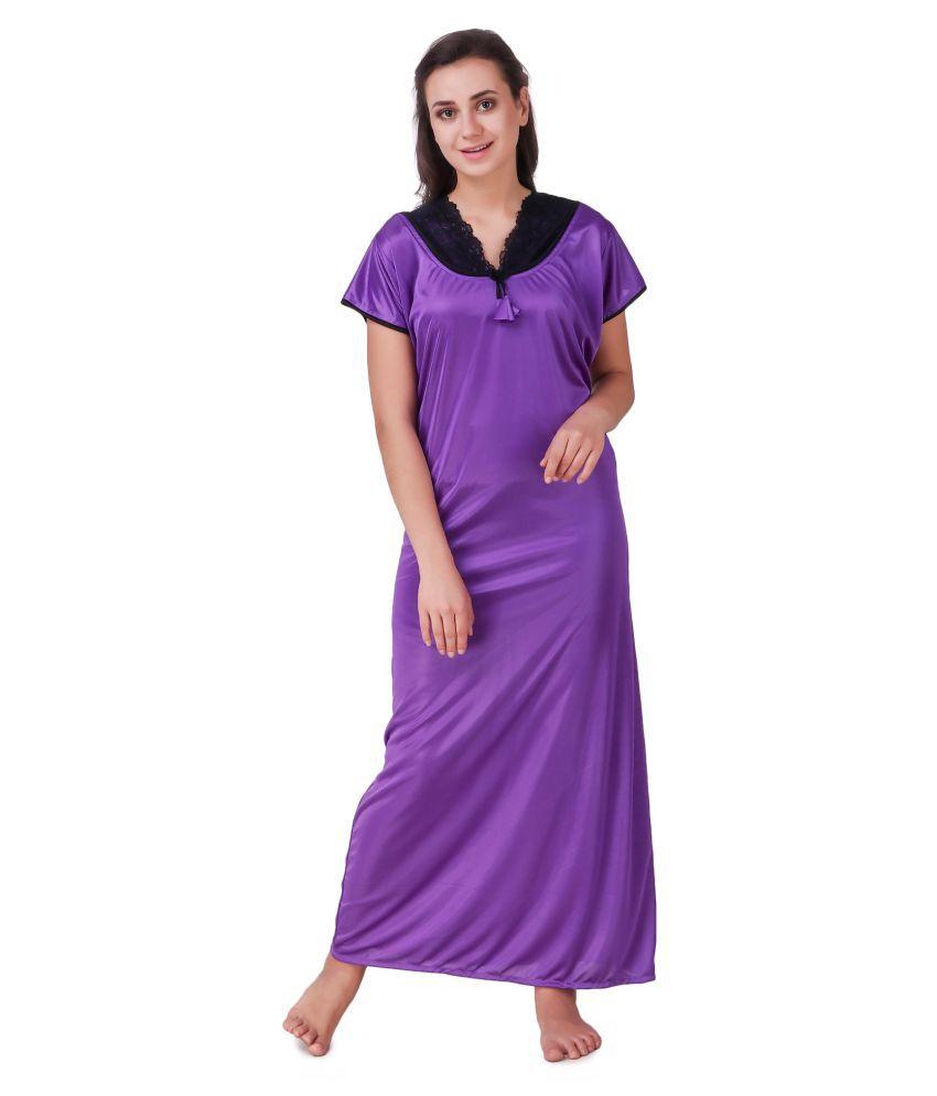 Trost Satin Nighty & Night Gowns - Purple
