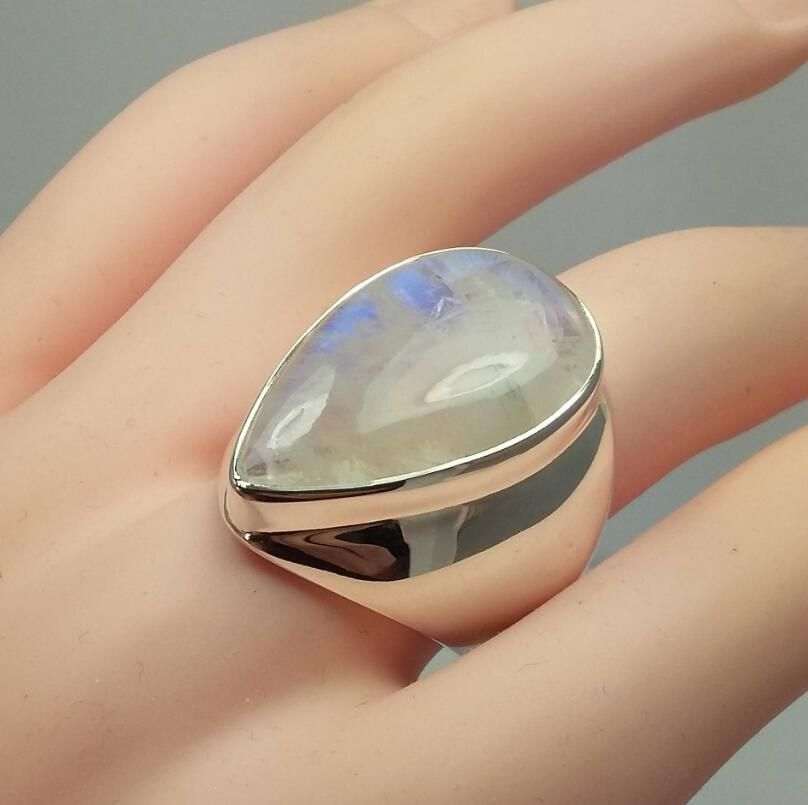 1Pc Exaggerated Vintage Large Moonstone Ring Fashion Jewellery