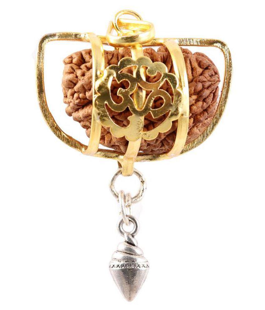 Rudra Blessings Original 1 Mukhi Rudraksha with Lucky Charm Shankh pendant