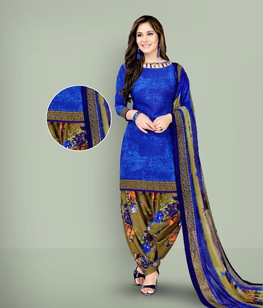 0cd8d952a4 Giftsnfriends Brown,Blue Crepe Dress Material - Buy Giftsnfriends Brown,Blue  Crepe Dress Material Online at Best Prices in India on Snapdeal