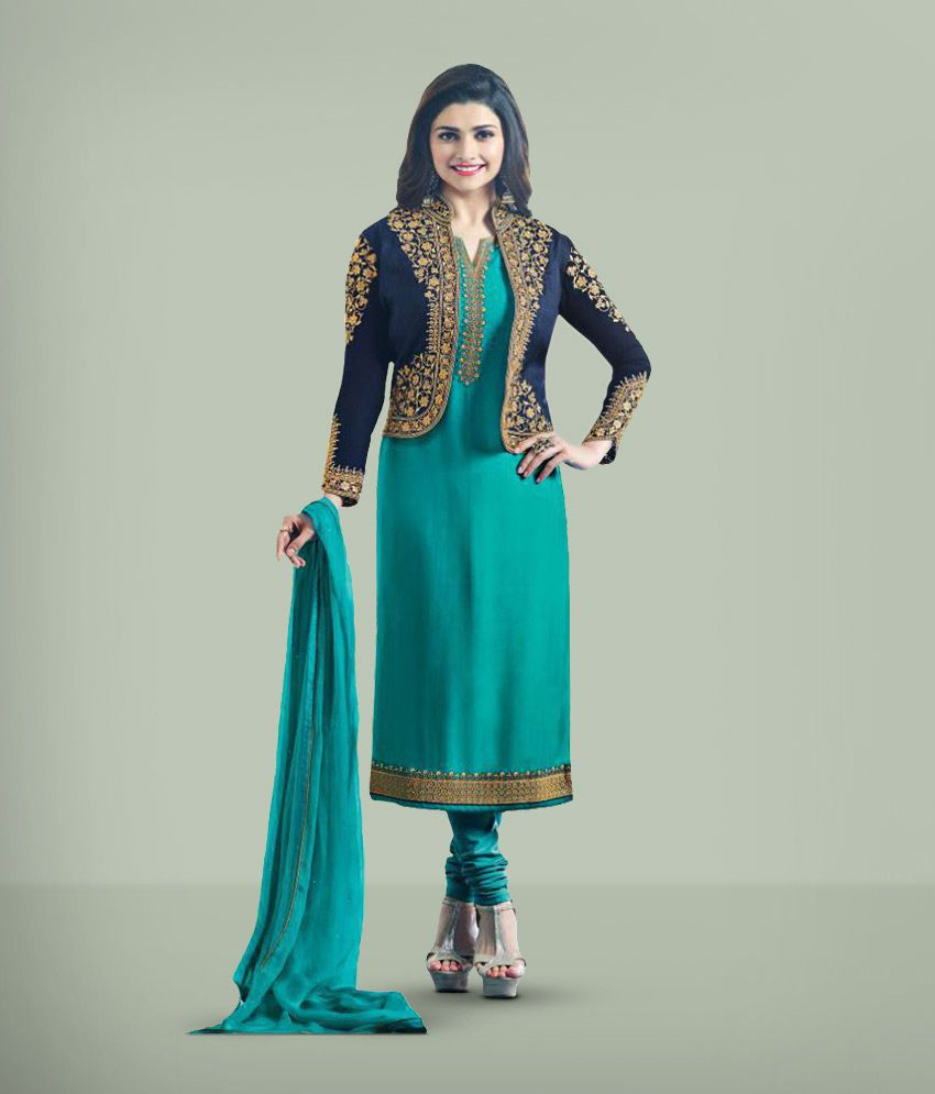 Darshita International Turquoise Georgette Dress Material With Jacket