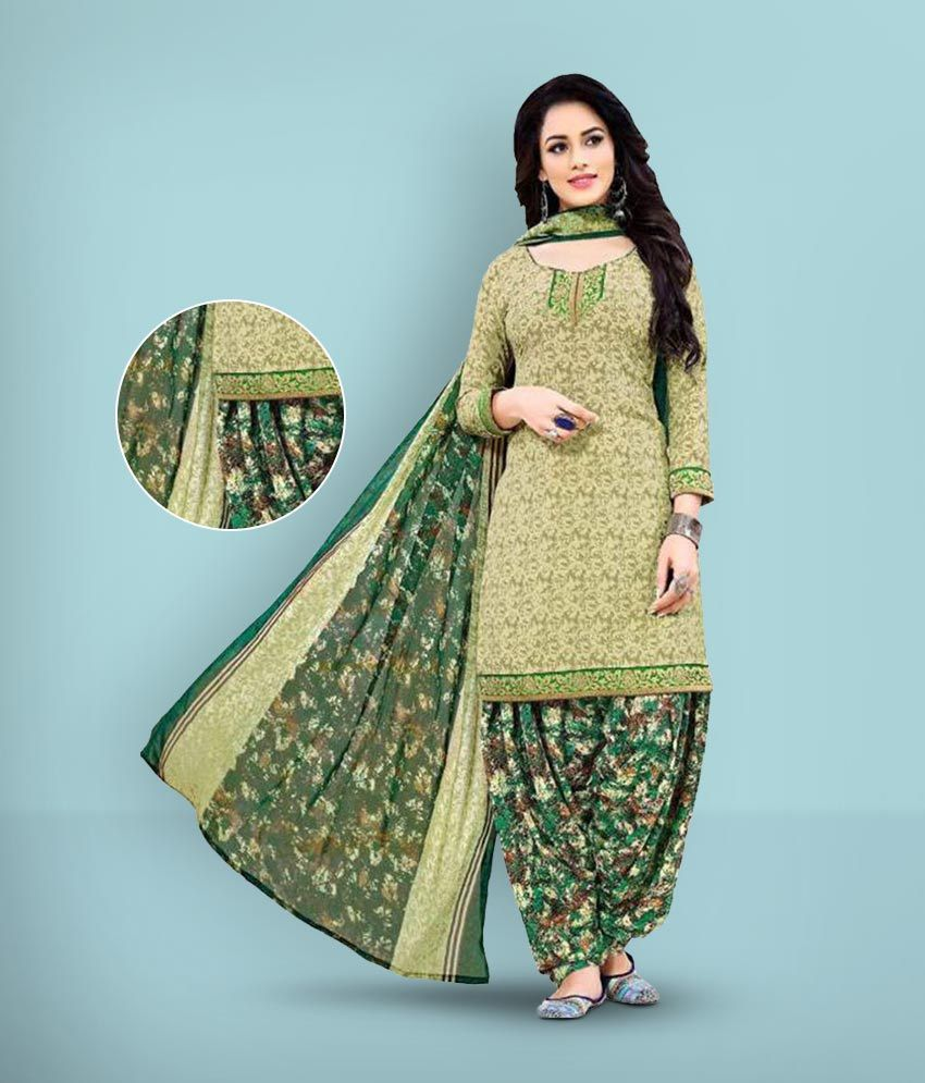 Women Shoppee Green and Beige Synthetic Dress Material