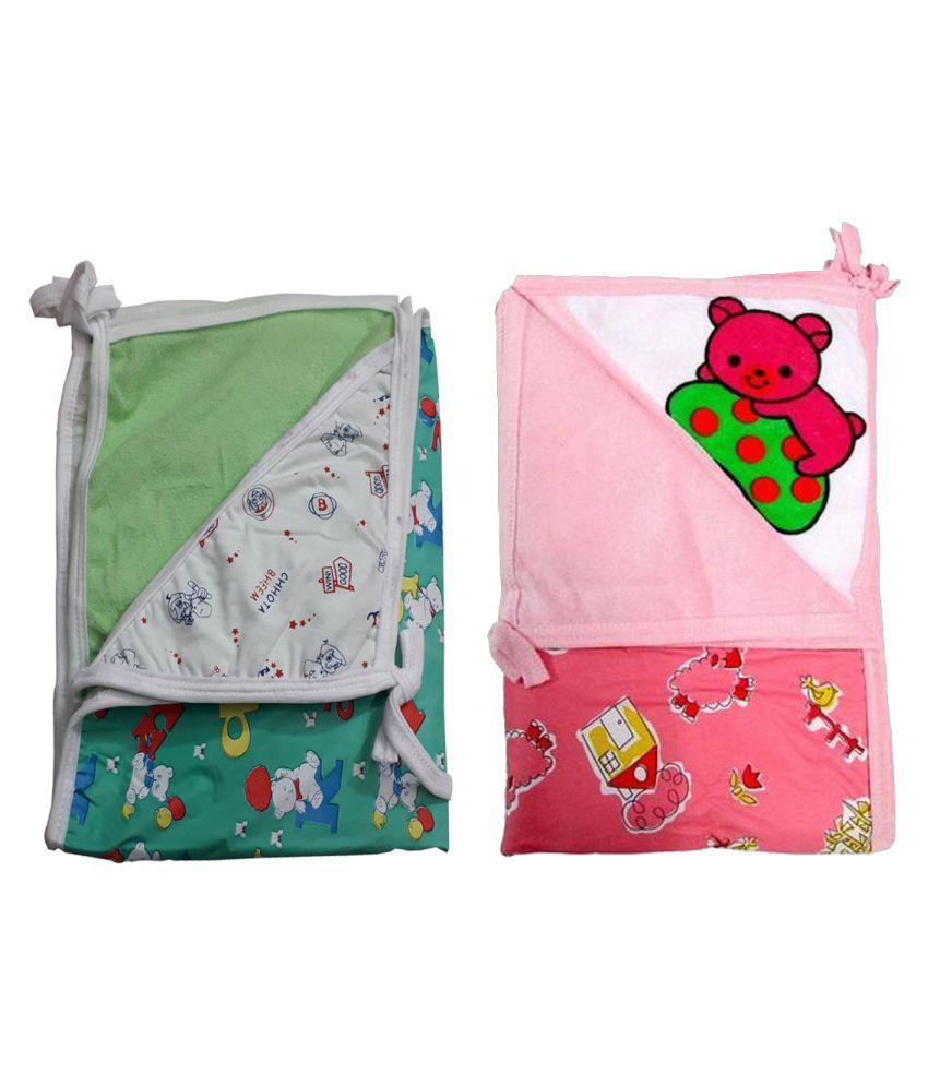 Baby Green Cotton Baby Wrap cum blanket ( 67 cm × 53 cm - 2 pcs)
