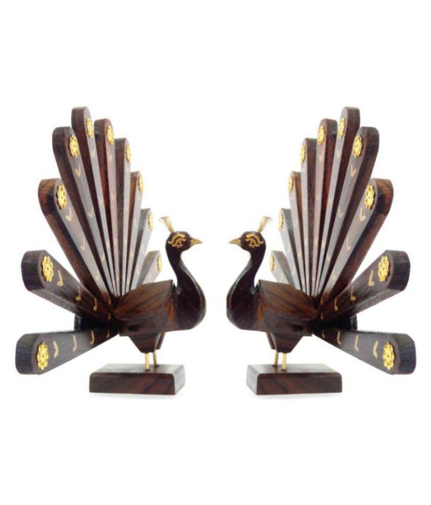 KeralaShopee Brown Wood Handicraft Showpiece - Pack of 2
