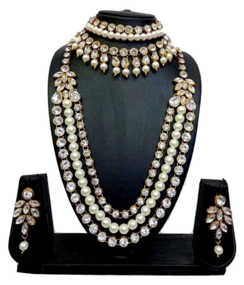 58c2422b4dca Catalyst Alloy White Long Haram Designer Gold Plated Necklace set Combo  +Free Necklace set of Rs.299 - Buy Catalyst Alloy White Long Haram Designer  Gold ...