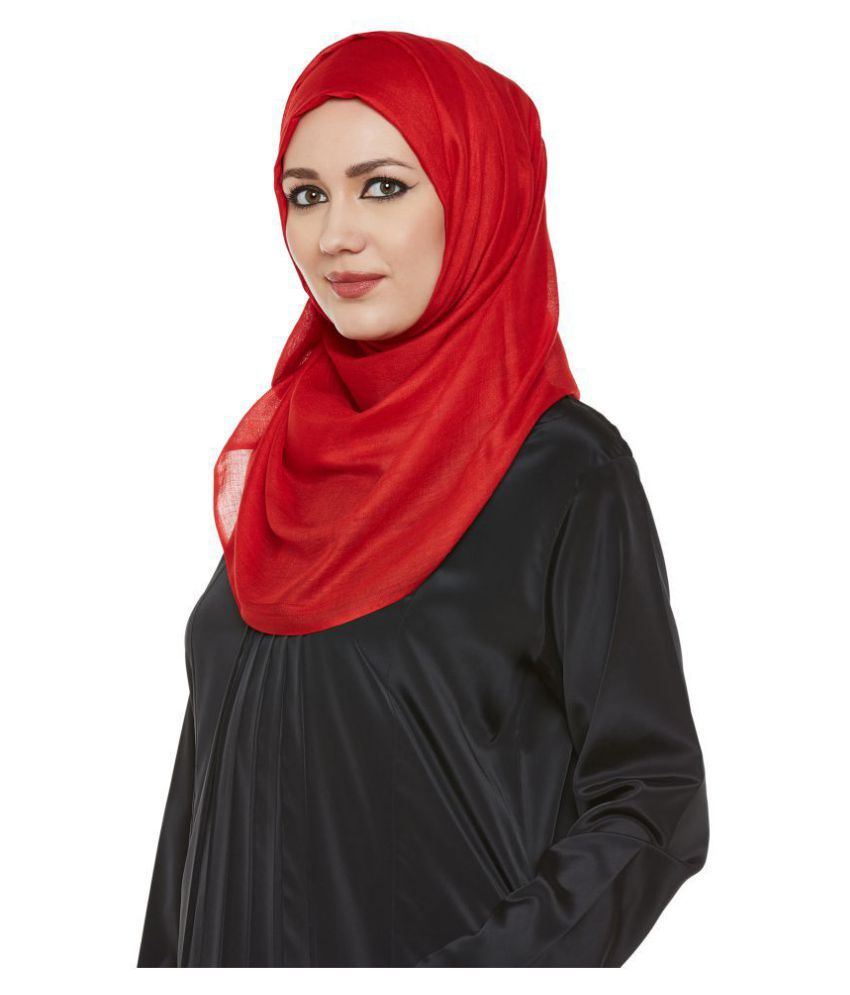 Momin Libas Red Solid Viscose Scarves