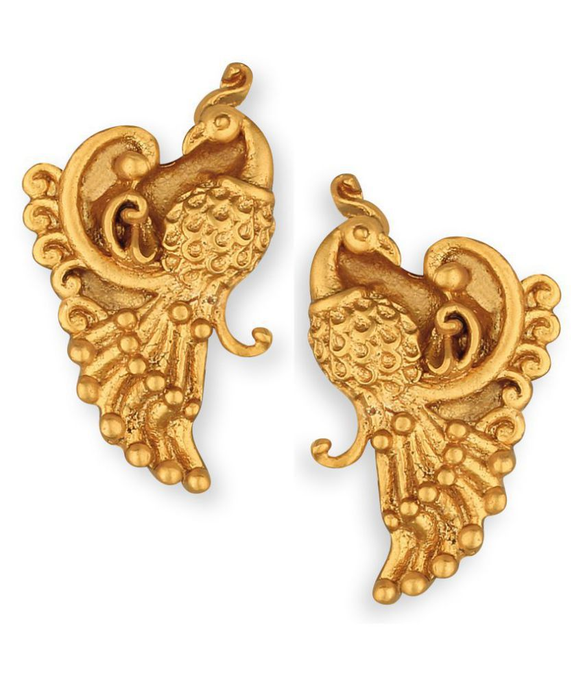 Spargz Peacock Gold Plated Top & Drop Earring For Women