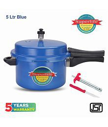 Superlife 5 L Aluminium Pressure Cooker Combo Gas Stovetop Compatible with Gas Lighter & Knife