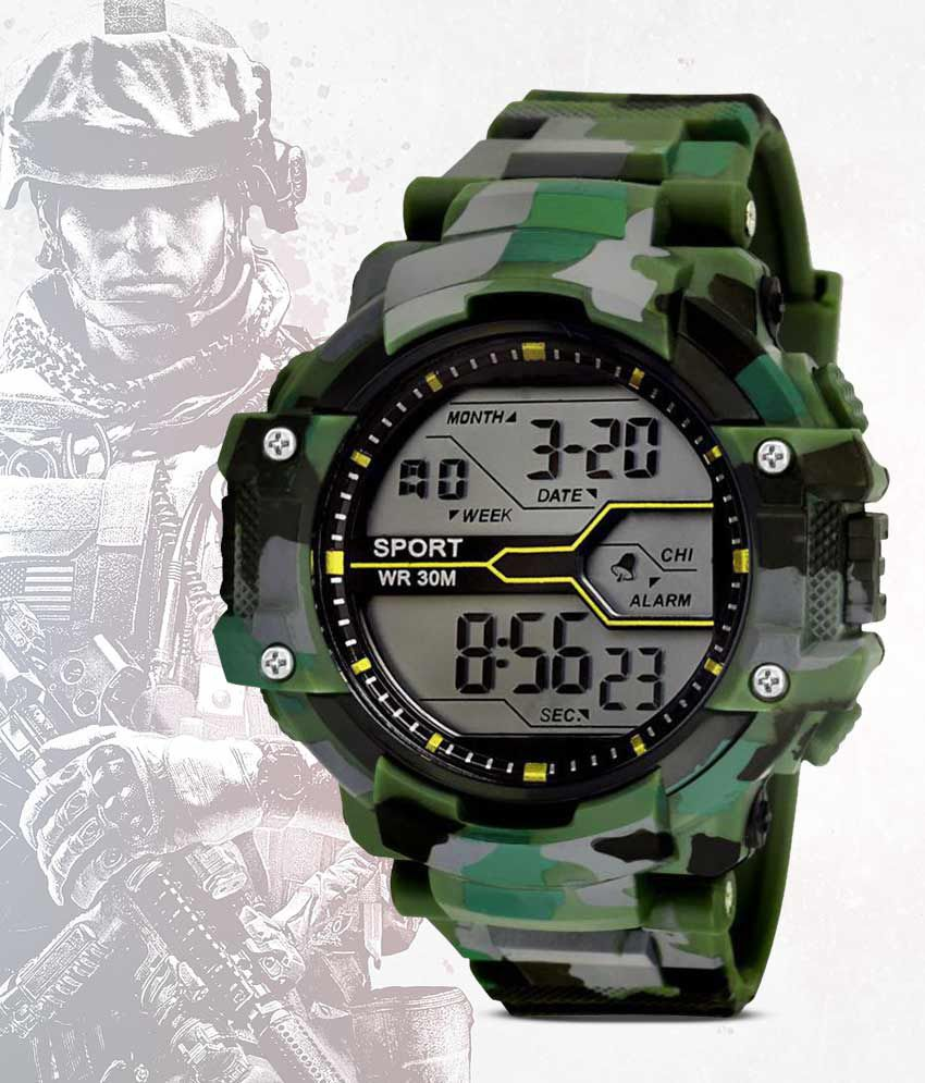 Army Print (Green & Grey) Grandson Army Color Kids Digital Watch For Boys & Girls above 8 years of age.
