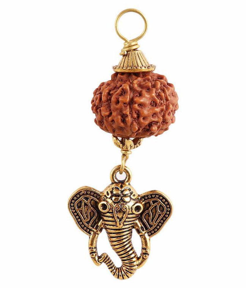 Rudra Blessings 7 Mukhi Indonesian Rudraksha Pendant with Elephant Accessory - 3