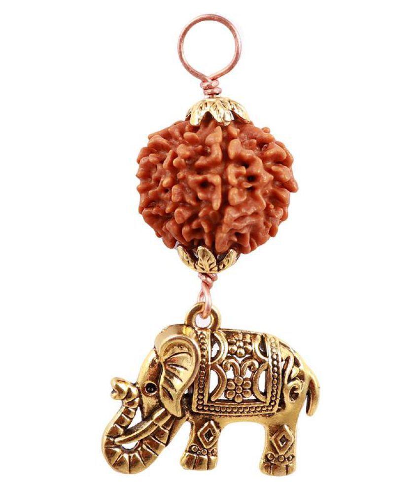 Rudra Blessings 7 Mukhi Rudraksha from Nepal with Lucky Charm Elephant