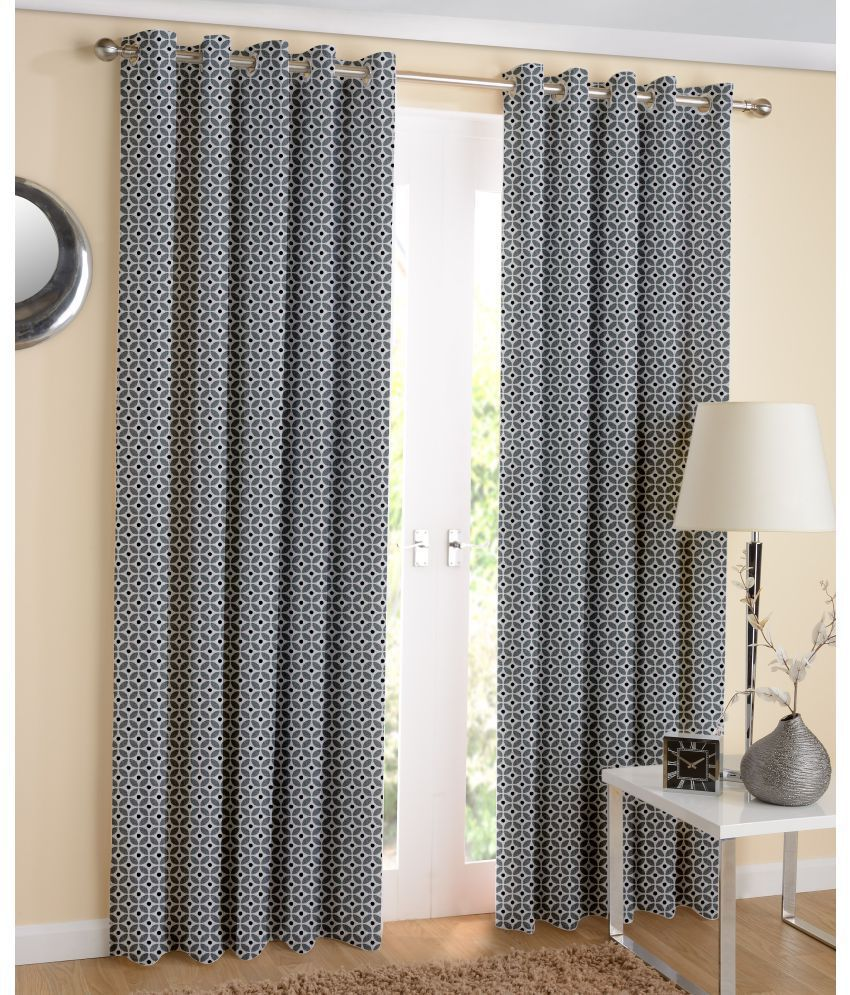 Airwill Set of 2 Door Semi-Transparent Eyelet Cotton Curtains Black