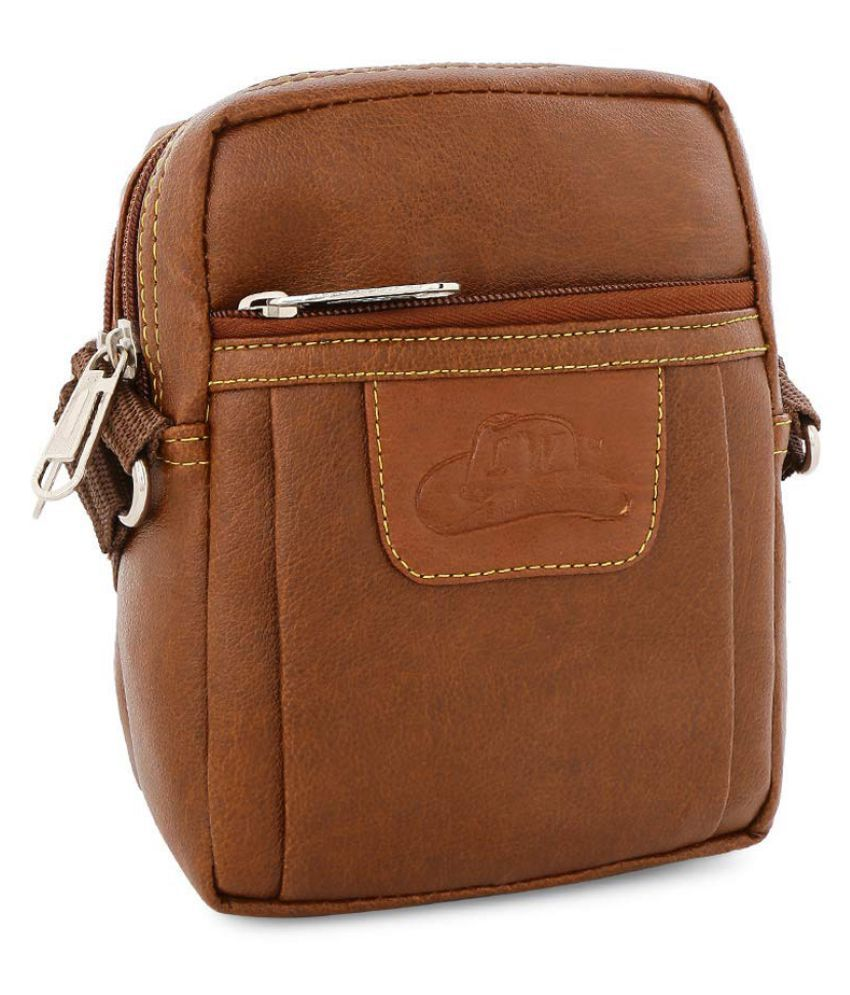 Fly Fashion FLYSB101 Tan P.U. Casual Messenger Bag